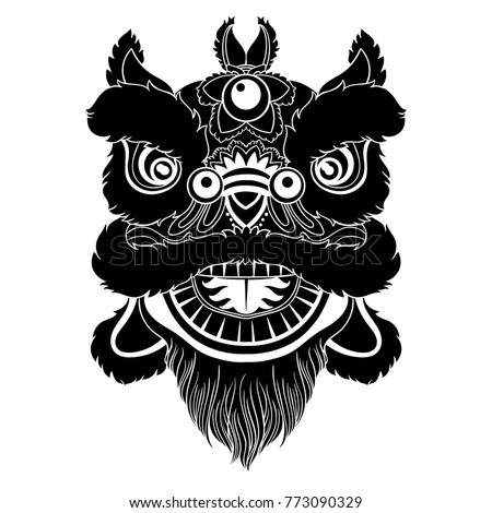 Vintage Vector Illustration Chinese Lion Head Stock Vector 773090329