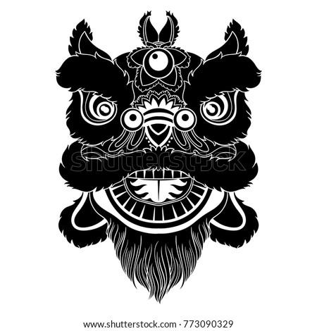Vintage Vector Illustration Chinese Lion Head Stock Vektorgrafik