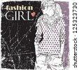 Vintage vector illustration of lovely fashion girl. - stock vector