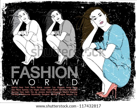 Vintage vector illustration of lovely fashion girl in sketch-style on a black background.
