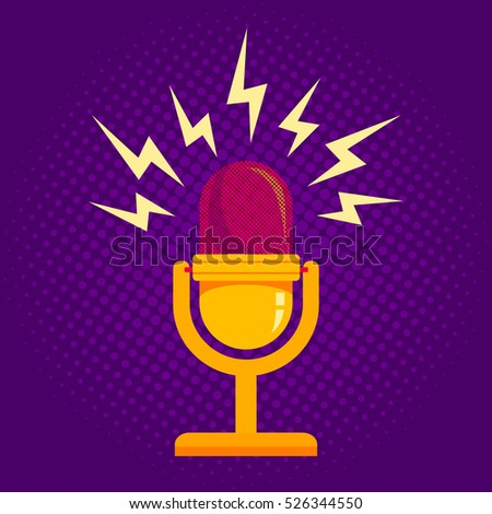 Vintage vector illustration of retro microphone and loud sound. Microphone on halftone background.