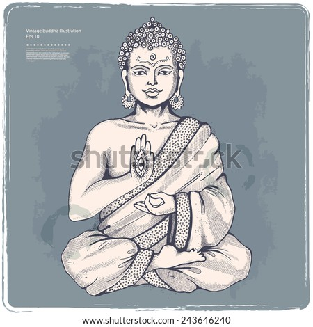 Vintage vector illustration with Buddha in meditation