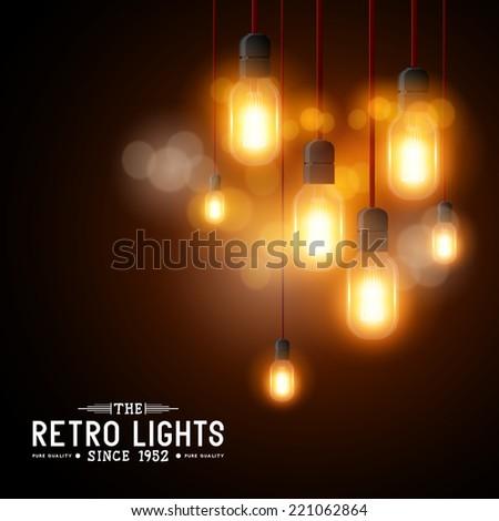 Vintage Vector Light bulbs - vector illustration - stock vector