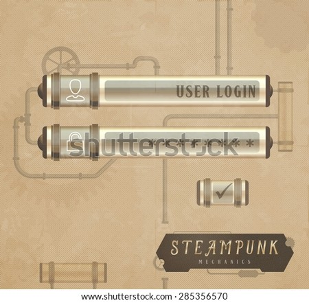 Vintage vector login form, steampunk style - stock vector