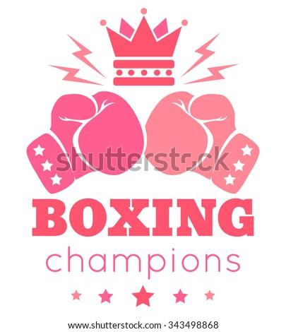 Vintage vector logo for a women's boxing - stock vector