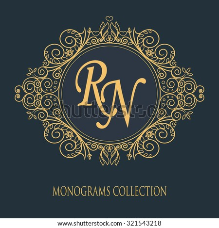 Vintage vector monogram. Elegant emblem logo for restaurants, hotels, bars and boutiques. It can be used to design business cards, invitations, booklets and brochures.  - stock vector