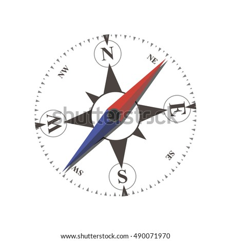 Vintage vector nautical or marine wind rose and compass icons flat, for travel, navigation design. Antique retro style metal illustration isolated on white background .