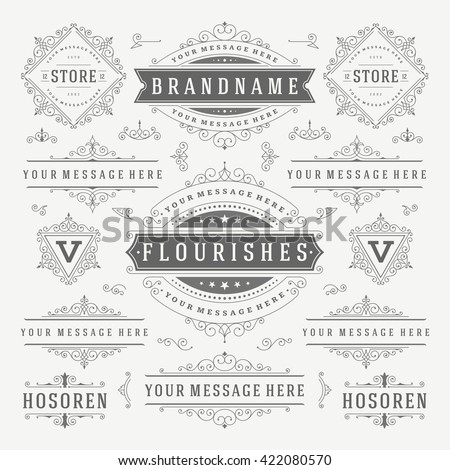 Vintage Vector Ornaments Decorations Design Elements. Flourishes calligraphic combinations Retro Logos, Royal Greeting cards,Crest Ornament Frames, Invitations. - stock vector