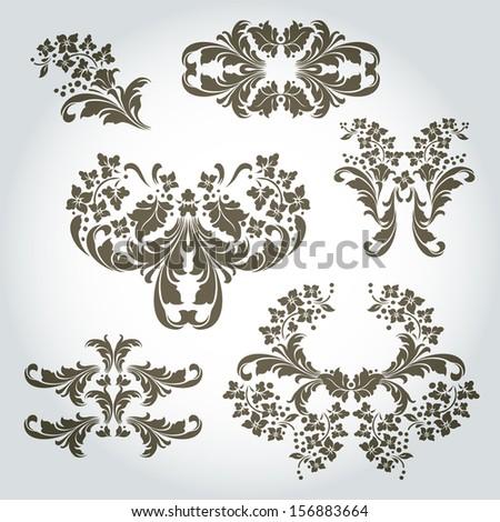 Vintage Vector Ornaments design set  - stock vector