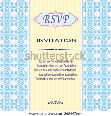 Vintage vector pattern. Hand drawn abstract background. Decorative retro banner. Can be used for banner, invitation, wedding card, Royal vector design element.