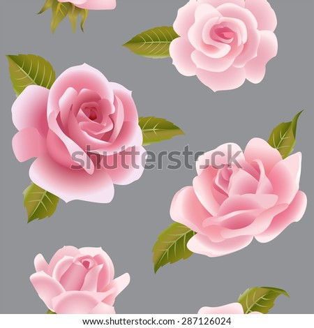 Vintage vector pink roses seamless pattern - stock vector