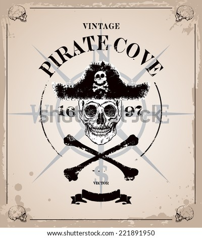 Vintage vector pirates skull frame background - stock vector