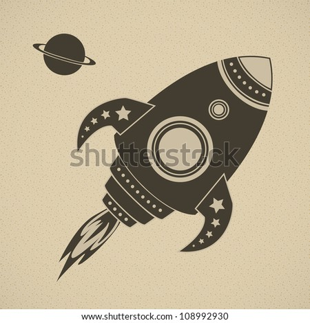 Vintage vector rocket in space. This image is fully editable. - stock vector