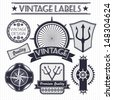 Vintage vector sail, nautical, travel labels  - stock vector