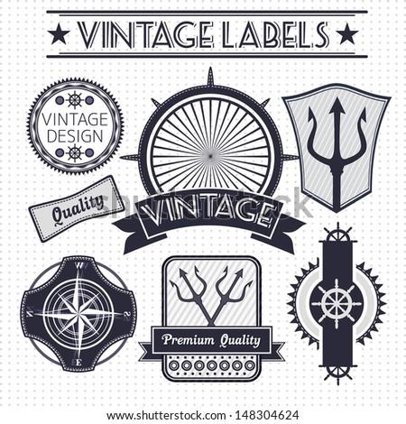 Vintage vector sail, nautical, travel labels  - stock vector