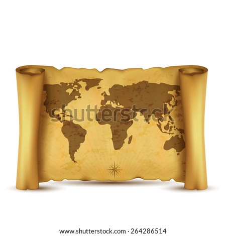 Vintage vector scrolled world map isolated on white background