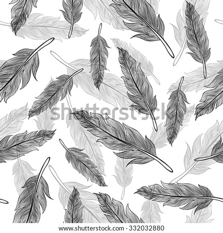Vintage vector seamless feathers pattern  - stock vector
