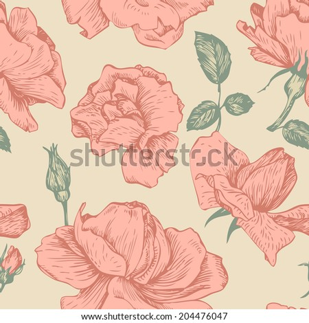 vintage vector seamless floral pattern with roses flowers, hand drawn illustration