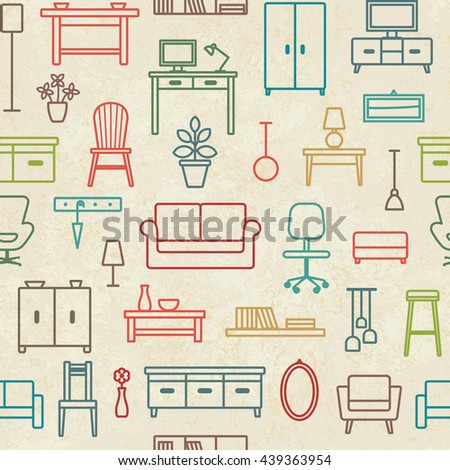 Vintage vector seamless pattern background with home furniture outline icons 2