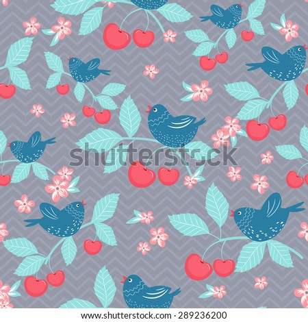 Vintage vector seamless pattern with birds and cherries