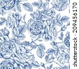 Vintage vector seamless pattern with garden roses in blue on a white background. - stock
