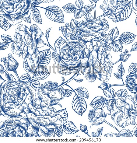 Vintage vector seamless pattern with garden roses in blue on a white background. - stock vector