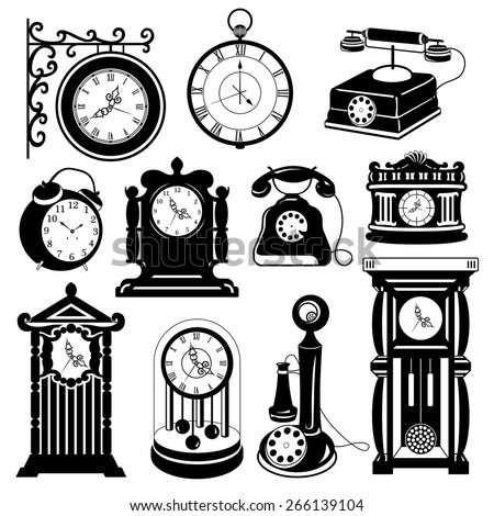 Vintage vector set: Antique clocks & phones - stock vector
