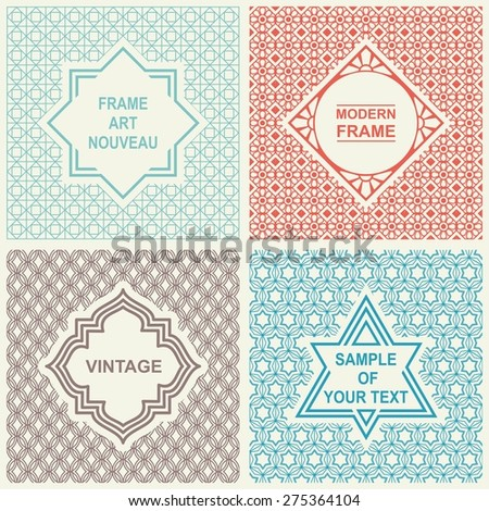 Vintage Vector Set. Design Templates for Logo, Labels and Badges on Decorative Backgrounds with Simple Patterns. Mono Line Graphic Style. - stock vector