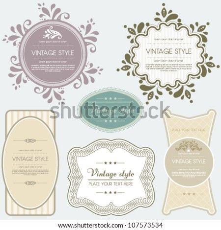 Vintage vector set labels. Perfect as invitation or announcement. Jpeg version also available in gallery. - stock vector