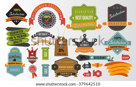 Vintage vector set of labels banners tags stickers badges design and infographic elements. Unique Vector Set of curled, long, short Label Banner Tag Sticker Badge elements for brochure.  - stock vector