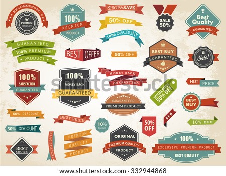 Vintage vector set of  labels banners tags stickers badges design elements./Vintage Vector Set of  Label Banner Tag Sticker Badge/Vintage Vector Set of  Label Banner Tag Sticker Badge - stock vector