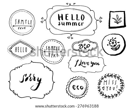 Vintage vector set of rough sketchy grungy decorative frames for invitation card, postcard, greeting card. Collection of graphic design elements. Hand lettered words - stock vector