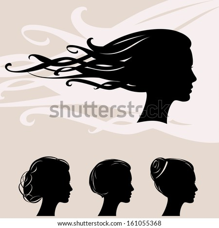 vintage vector set of woman silhouette with hair styling - stock vector