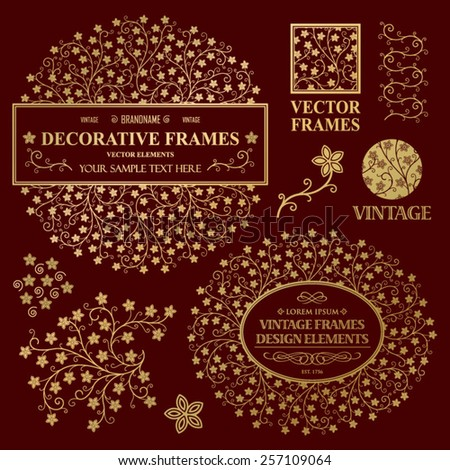 Vintage vector set: wedding invitation flower frames, logotypes and ornamental elements on a dark background - stock vector