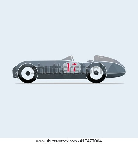 Vintage vector sport racing car with the number seventeen. Vector illustration. - stock vector