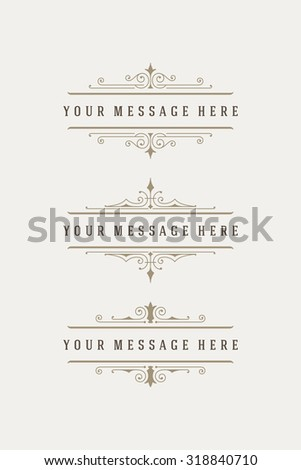 Vintage vector swirls ornaments decorations design elements and place for text. Flourishes calligraphic combinations retro design for Invitations, Posters, Badges, Logotypes and other design. - stock vector