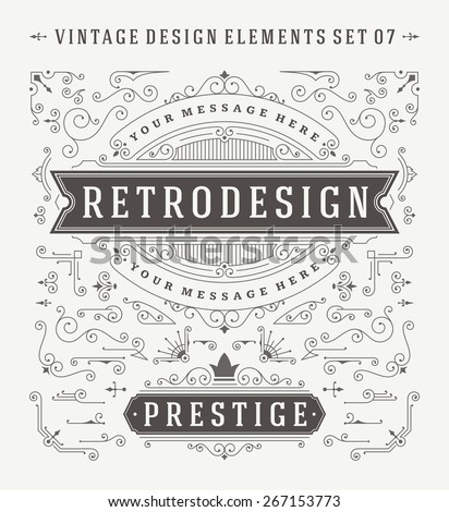 Vintage Vector Swirls Ornaments Decorations Design Elements. Flourishes calligraphic combinations retro design for Invitations, Posters, Badges, Logotypes and other design.