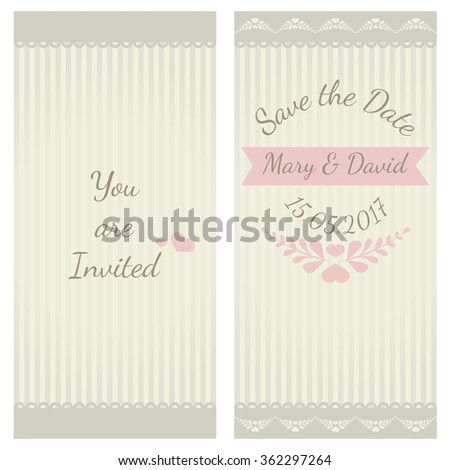 Vintage vector wedding card templates. Can be used also for invitations, baby shower, mothers day, valentines day, birthday - stock vector