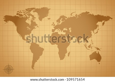 Vintage Vector World Map Illustration - stock vector