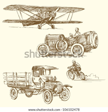vintage vehicles - hand drawn collection - stock vector