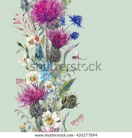 Vintage vertical watercolor herbal seamless border with Blooming Meadow Flowers-Thistles Dandelions Meadow Herbs, Chamomile and Dragonfly. Botanical Floral Vector Vintage Isolated Illustration on Mint - stock vector
