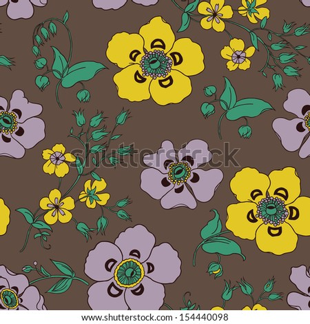 Vintage Victorian Flower Seamless Pattern. Copy that square to the side and you'll get seamlessly tiling pattern which gives the resulting image ability to be repeated or tiled without visible seams. - stock vector