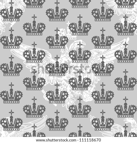 vintage victorian seamless pattern with crowns and eagle - stock vector
