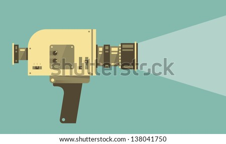 Vintage video camera with light. Vector illustration. - stock vector