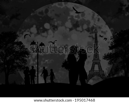 Vintage view of Paris on the grunge poster with grey splash and couple in love, vector illustration - stock vector