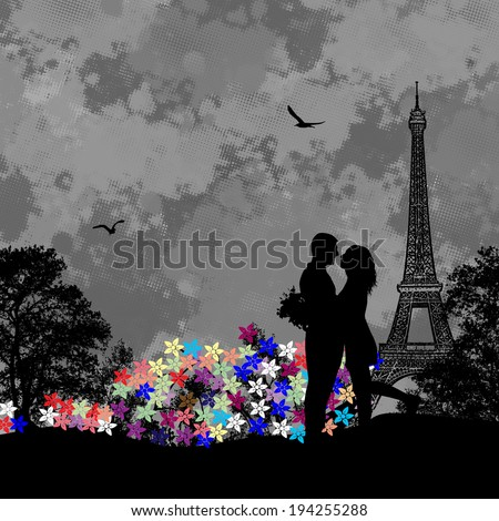Vintage view of Paris on the grunge poster with grey splash, flowers and couple in love, vector illustration - stock vector