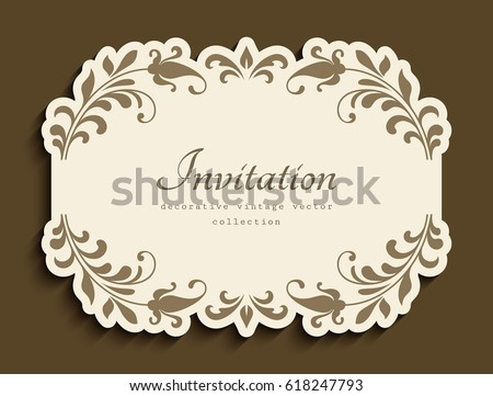 Vintage vignette floral decoration cutout paper stock vector hd vintage vignette with floral decoration and cutout paper border vector embellishment wedding announcement or stopboris Choice Image