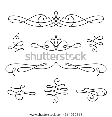Vintage vignettes, page decoration template, set of calligraphic decorative design elements in retro style, vector scroll embellishment on white - stock vector