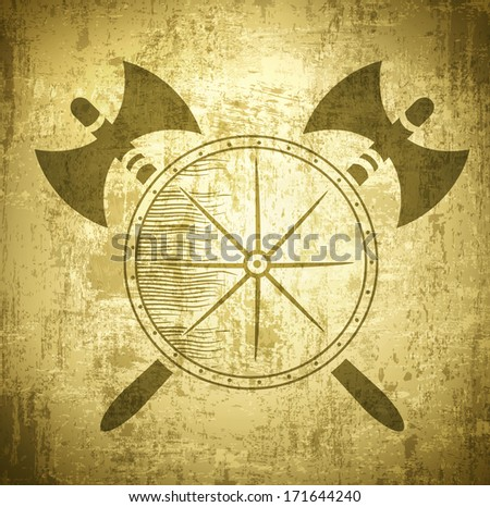 Vintage Viking Grunge Background With Axes and Shield - stock vector