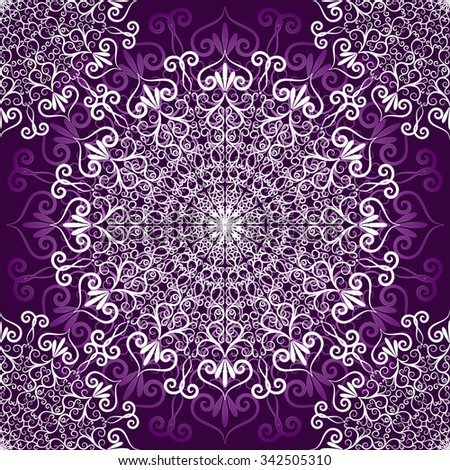 Vintage violet seamless pattern with white filigree lacy circles,  vector eps10 - stock vector